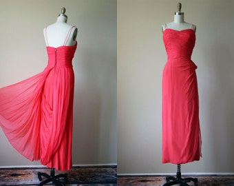 50s Dress - Vintage Couture 1950s Dress - Coral Draped Chiffon Goddess Gown w Trained Skirt M - Tender Trap Dress
