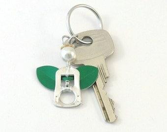 green soda tab angel keychain, soda can tab angel keyring,  pop tab angel bag charm, angel key charm, upcycled keychain, recycled keychain