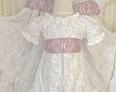 12 months to 16 Dress Easter Wedding Recital Beach White Embellished Fabric Dress with Lavender Dupioni Silk Sash
