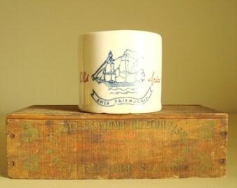 Old Spice shaving mug, 1940 Hull pottery Ship Friendship, mens grooming gift, barbershop display, pre-glass mug, wet shave enthusiast