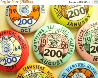 International Brotherhood Teamsters, Chauffeurs and Helpers of America, Milwaukee WI Local 200, membership lapel pins or buttons 1964, 1966