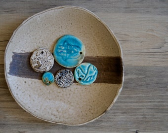Ceramic salad plates cappuccino glaze- dessert plates, Handmade set of 4  Wedding gift Organic Handmade Tableware by Christiane Barbato