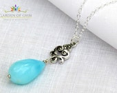 Simple and Beautiful Peruvian Opal Drop Necklace with a Sterling Silver and Marcasite Scroll Component, Pretty, Healing, Stunning Necklace