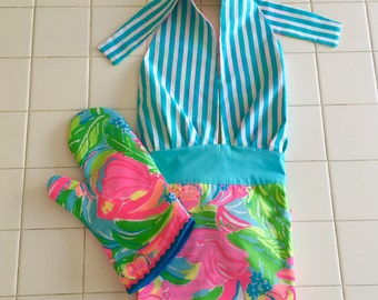 Lilly Pulitzer Apron and Oven Mitt