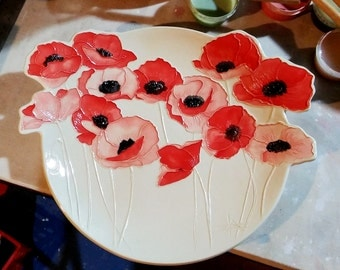 Cherry Red Poppies!  Ceramic-Watercolor XXL Wall Hanging sculpture by Faith Ann Originals