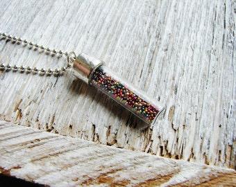 Minimalist Vial Necklace, Multicolor Bead Necklace, Pendant Necklace, Microbeads Necklace, Layering Necklace, Minimalist Boho Necklace