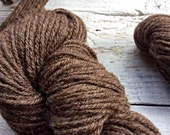 Hand spun all natural Shetland wool - brown - 3 ply - gift for knitters - handmade yarn - knit crochet yarn - brown wool yarn