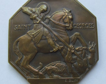 Saint George And The Dragon Antique French Art Deco Religious Art Medal Signed Blin