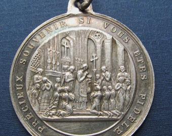 French Antique Silver Sacrament Religious Medal Baptism Communion Confirmation Pendant  SS122