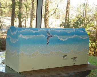 Hand Painted Seagull and Sandpipers Mailbox, 4 bird mailbox, A great Housewarming Gift