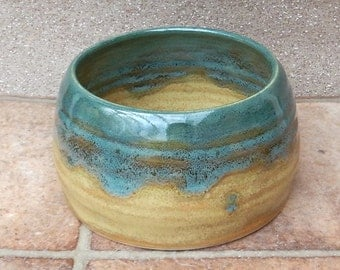 Spaniel water bowl for long eared dog hand thrown pottery ceramic