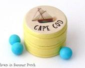 Cape Cod Sailboat Pill Box - Non Toxic Vitamin Box - Cape Cod Ring Box - Cape Cod Powder Box Souvenir