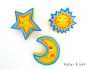 Celestial Refrigerator Magnets - Smiling Star - Smiling Sun - Smiling Moon - Refrigerator Magnets set - Stocking Stuffer