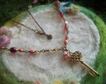 Pink Glass Bead Necklace with Gold Key and Filigree Findings