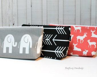 Large Make Up Bag / Diaper Clutch - Elephants - Black Arrows - Deer - You Choose