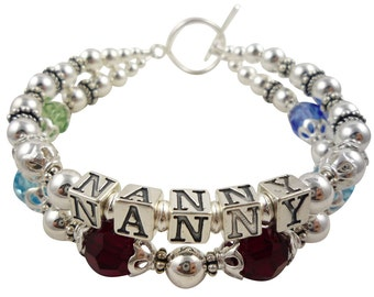 Nanny Bracelet/ Nana Birthstone Bracelet - Grandma, Gigi, Mimi, Grammy, Gammy - Ladies Family Name Gift- Personalization and colors