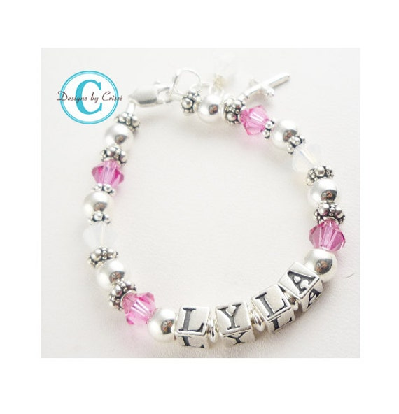Cross Bracelet for girls. Hot pink crystal or any color. Huge selection of crystals and charms in sterling silver/ baby/ baptism/ communion