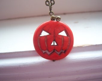 Pumpkin Necklace - Halloween Necklace - Orange Turquoise Necklace -Jack O Lantern Necklace- Free Gift With Purchase