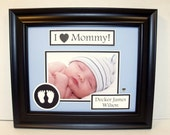 Ultrasound Sonogram Frame - I Love (Heart) Mommy or Daddy - Personalized Photo Keepsake Frame - 8x10 Deluxe Frame Included - Any Message