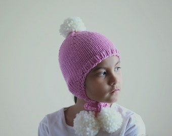 Earflap Hat with Pompom