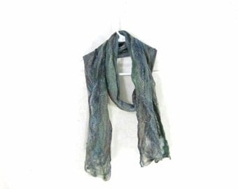 Cobweb Felted Scarf Wool Scarf Gifs for Her Winter Scarf Long Scarf Womens Scarf Winter Accessory Lightweight Scarf Blue Teal Moss Green