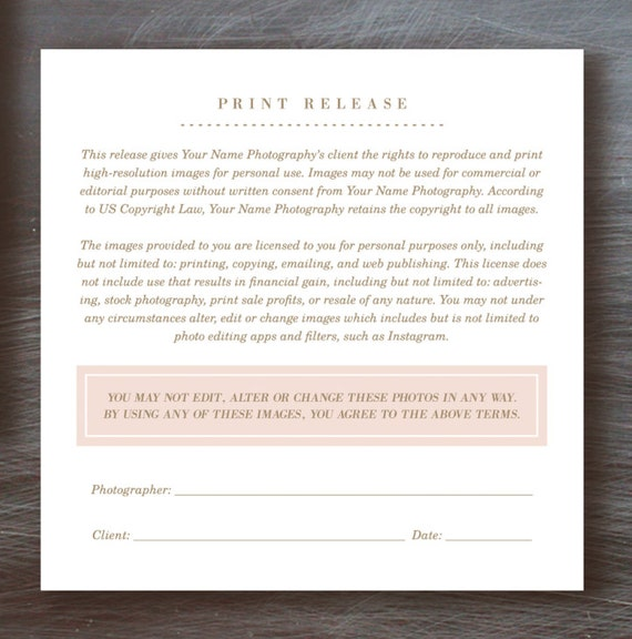 Print Release Form Photographer Licensing Agreement – Photography Copyright Release Form