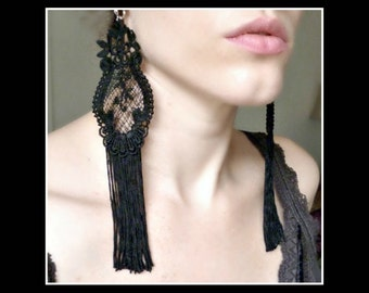 Black Lace Earrings  - Victorian, Vintage Inspired Earrings - Burlesque Costume - Fringe Earrings - Statement Earrings