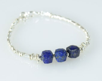 Lapis lazuli square beads and sterling silver beads  bracelet