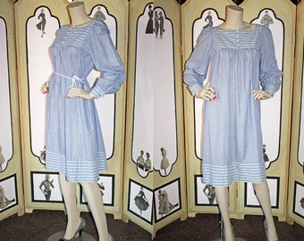 Vintage 70's Prairie Dress in Blue and White by Edesta Originals. Small.