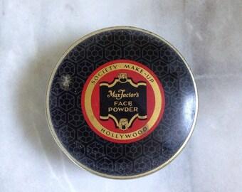 Vintage Max Factor Society Make Up Tin, 1950s