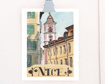 Nice, France Watercolor Travel Poster art print of an original watercolor illustration