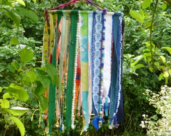 Rainbow Textile Hanging, Colour,Beaded, Mobile,Handmade,Decoration, Garden,Home, OOAK, Upcycled