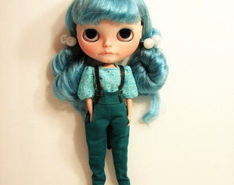 Blythe Outfit, Suspender Pants and Blouse / Shirt ... Teal Green and Aqua Floral ... The Chesney 2-Pc Outfit for Blythe Dolls