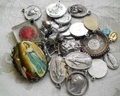 Lot OLD Vintage Antique Modern Religious Medals Charms Odds & Ends Supply Altered Art