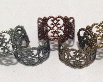 Filigree  adjustable rings (5)