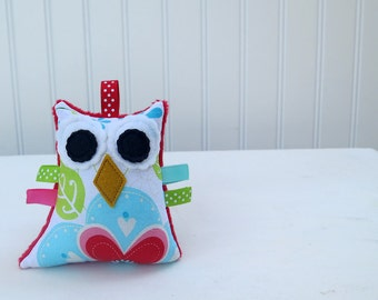 Owl Rattle Plush Baby Toy Stuffed Turquoise Red Pink Green Ready to Ship