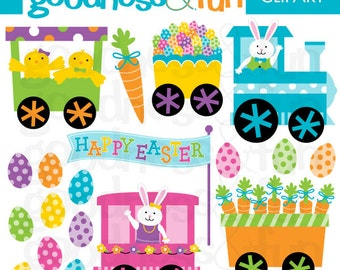 Buy 2, Get 1 FREE - Easter Train Easter Clipart - Digital Easter Clipart - Instant Download