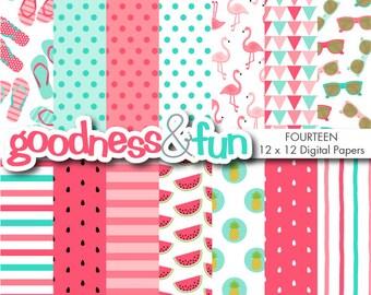 Buy 2, Get 1 FREE - Happy Flamingo Digital Papers - Digital Flamingo Summer Paper Pack - Instant Download