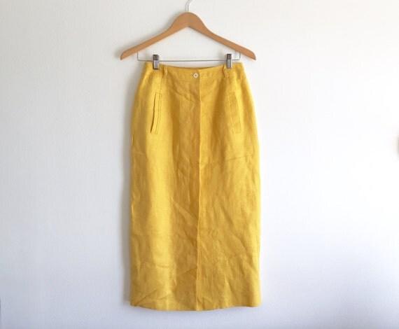 mustard yellow high waist pencil skirt shin length yellow