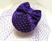 Purple fascinator- Silk cocktail hat - Birdcage veil - Purple wedding hat -