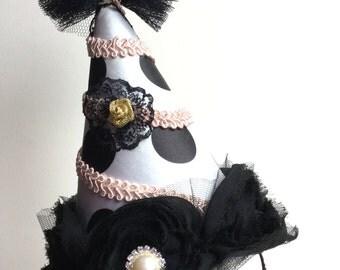 Clown hat - Circus Costume - White circus hat - Burlesque hat - Carnival hat.