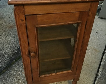 Antique pine pie safe bread cabinet screened 37h20w15d Shipping is Not Free