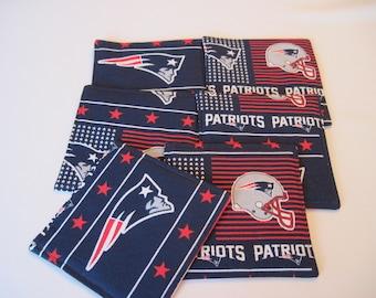 NE Patriots Coasters Reversible Set of 4 or 6 NFL Coasters Boston Sports Coasters Patriots Mug Rugs NE Patriots Gift Pats gift Boston Fan