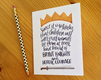 Heroic Courage C.S. Lewis Boy Card