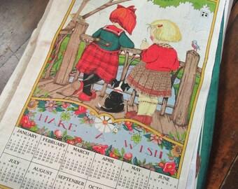 Vintage 1991 Linen Calendar Tea Towel Mary Eigelbreit