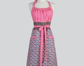 Cute Kitsch Retro Aprons - Full Vintage Womens Apron in Paradise Pink and Taupe Daisy and Polka Dots Womans Cute Kitchen Chef Cooking Apron