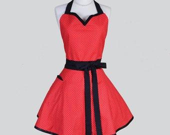Sweetheart Apron . Red and White Polka Dot Vintage Style Retro Womens Kitchen Apron