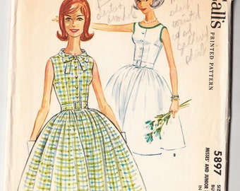 Vintage 1961 McCall's 5897 Sewing Pattern Misses' and Junior's Dress Size 9 Bust 30-1/2