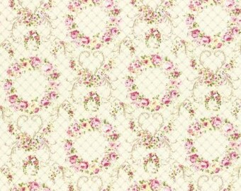Rococo Sweet 2016  Wreaths of Roses on Cream Cotton Fabric Lecien 31362-10