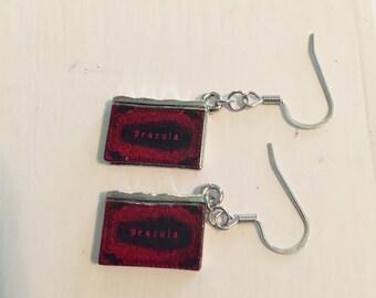 Mini Dracula Book Dangle Earrings